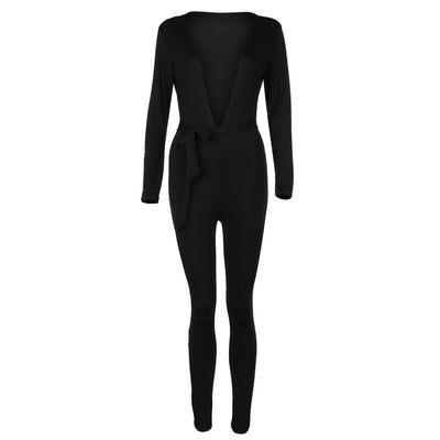 Women Fashion Deep-V Playsuit Slim Long Sleeve Pullover Siamese Jumpsuit + Belt