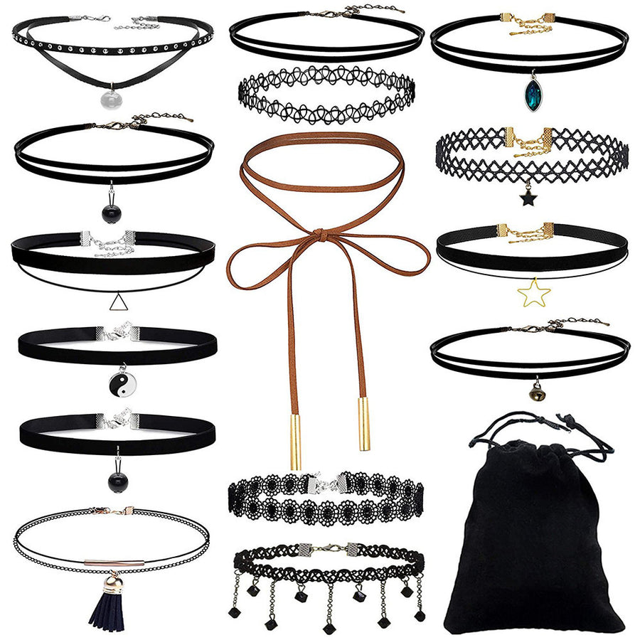 15 Pieces Choker Necklace Set Stretch Velvet Classic Gothic Tattoo Lace Choker