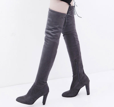 Women Stretch Faux Slim High Boots Over The Knee Boots High Heels Shoes