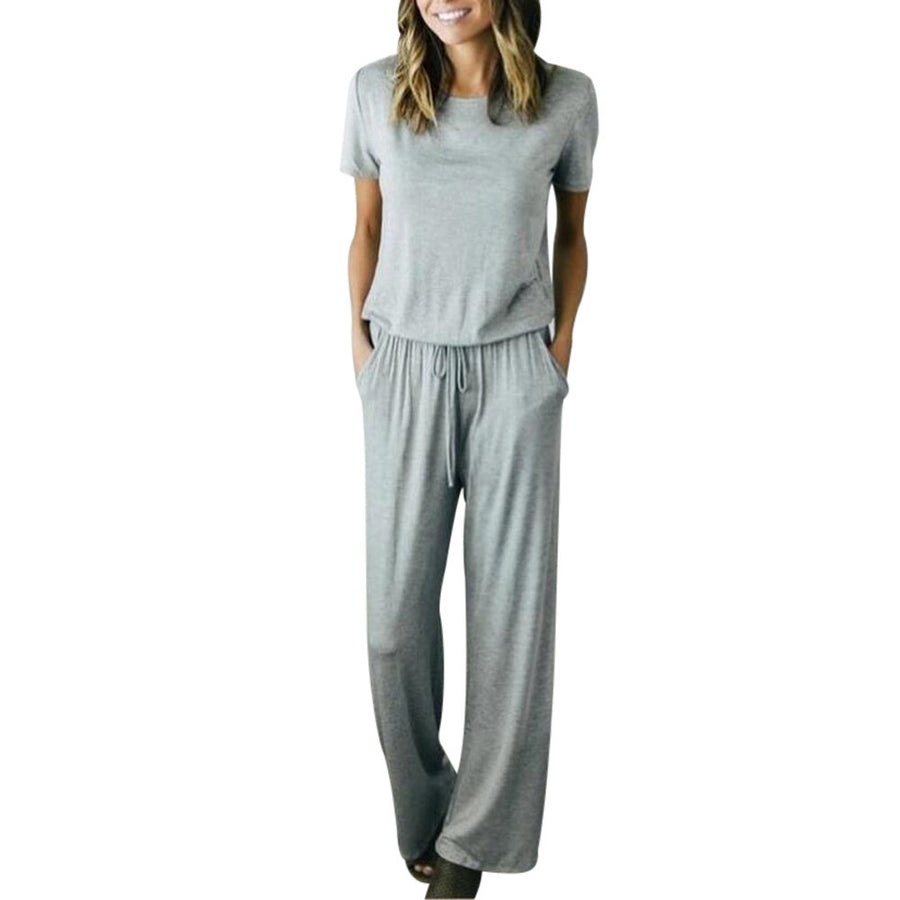 Women Casual Solid Short Sleeve  Clubwear Wide Leg Pants Outfit Jumpsuit
