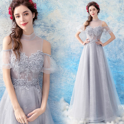 Cheap Prom Dresses 2018 With High Neck Short Sleeves Tulle Long Party Evening Dress