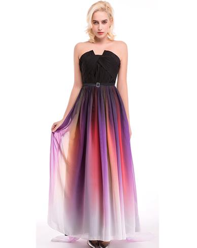 Evening Dresses Real Photo Pleated Gradient Ombre Long Chiffon