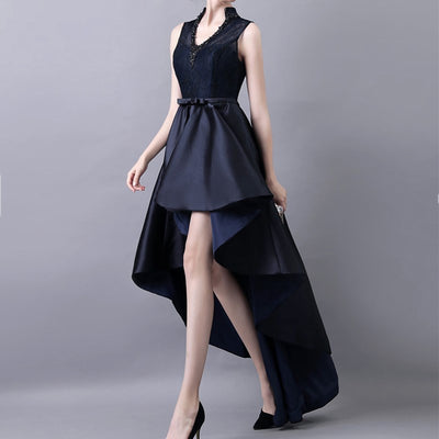High Low Prom Dresses 2017 V-Neck Sexy Short Front Long Back Formal Cocktail Party Dress Navy Blue
