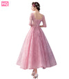 Charming Prom Dresses With Half Sleeves Ankle Length Tulle Long Beaded Appliques