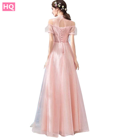 High Neck Floor Length Prom Dresses Cheap A Line Cap Sleeves Appliques Beaded