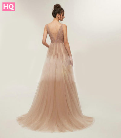 Sexy Prom Dresses 2018 Long V Neck Party Dresses Long Beading Open Back Evening Dresses