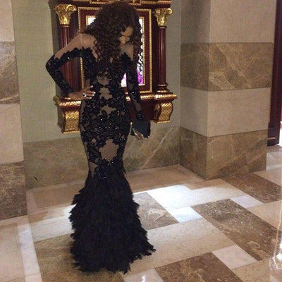wedding Luxury Black Prom With Long Sleeves Sheer Mermaid Evening Real Tulle Formal Gowns Plus Size mother of the bride dress 1 2