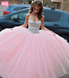 Elegant Strapless Prom Dresses 2017 Sleeveless Ball Gown Princess Style Tulle Prom Dress