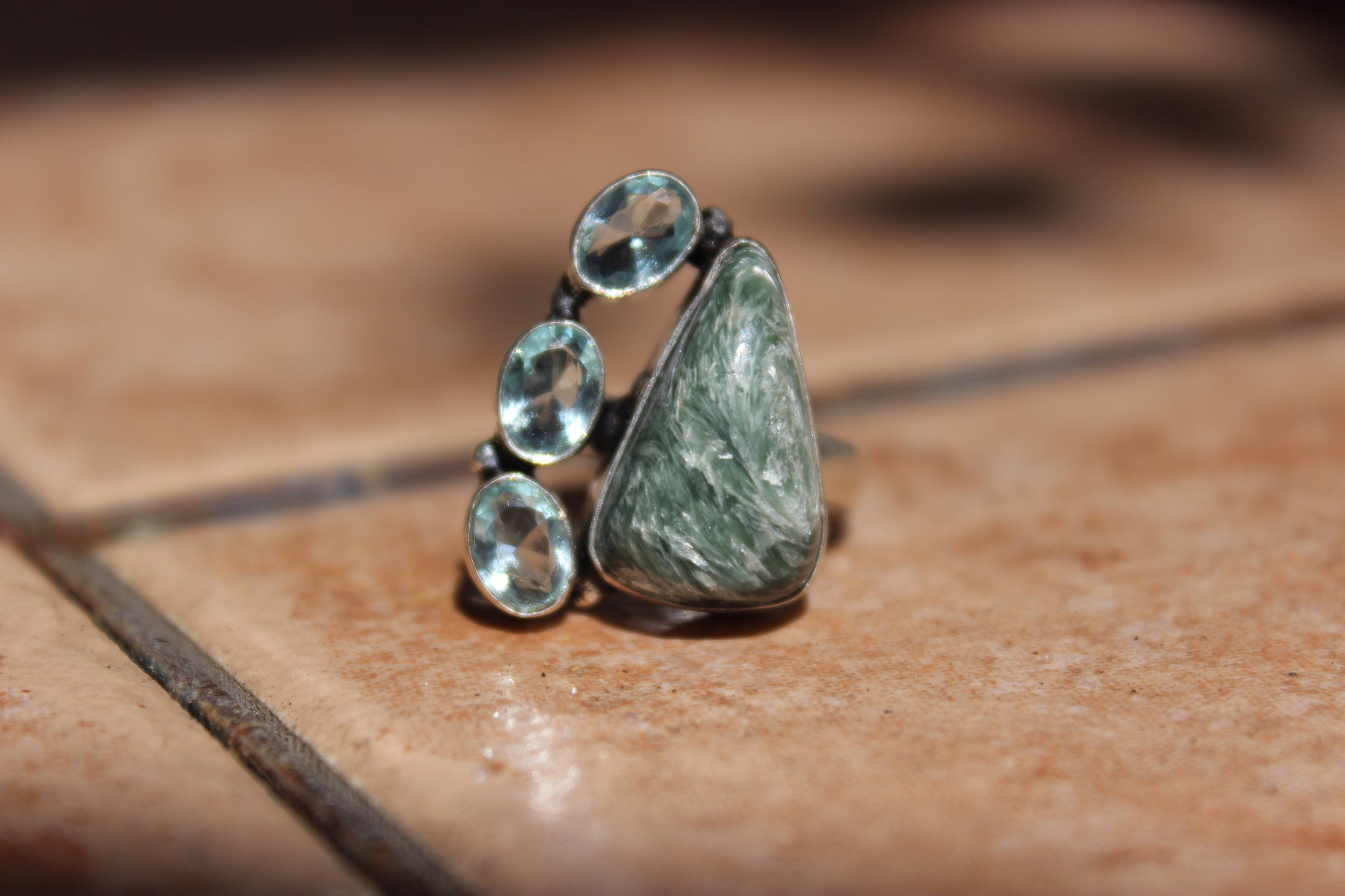 Seraphinite and Blue Topaz Ring