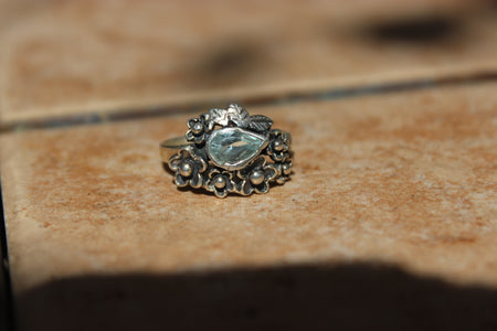 Aquamarine Flora Ring