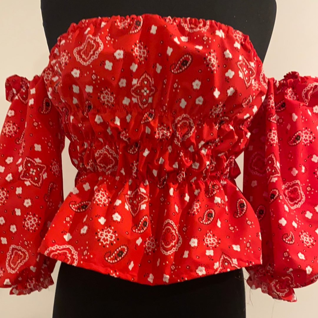 Cowboy's Sweetheart Blouse - Red, Navy, or Pink
