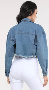 The Drip Cropped Jean Jacket