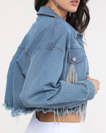 Load image into Gallery viewer, The Drip Cropped Jean Jacket