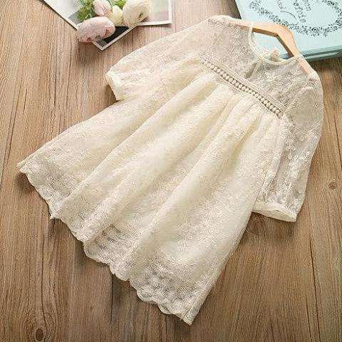 Vintage Lace Cream Empire Dress - loopylousboutique