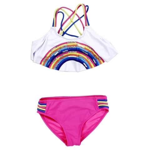 Rainbow Criss Cross Neon Swimsuit - loopylousboutique