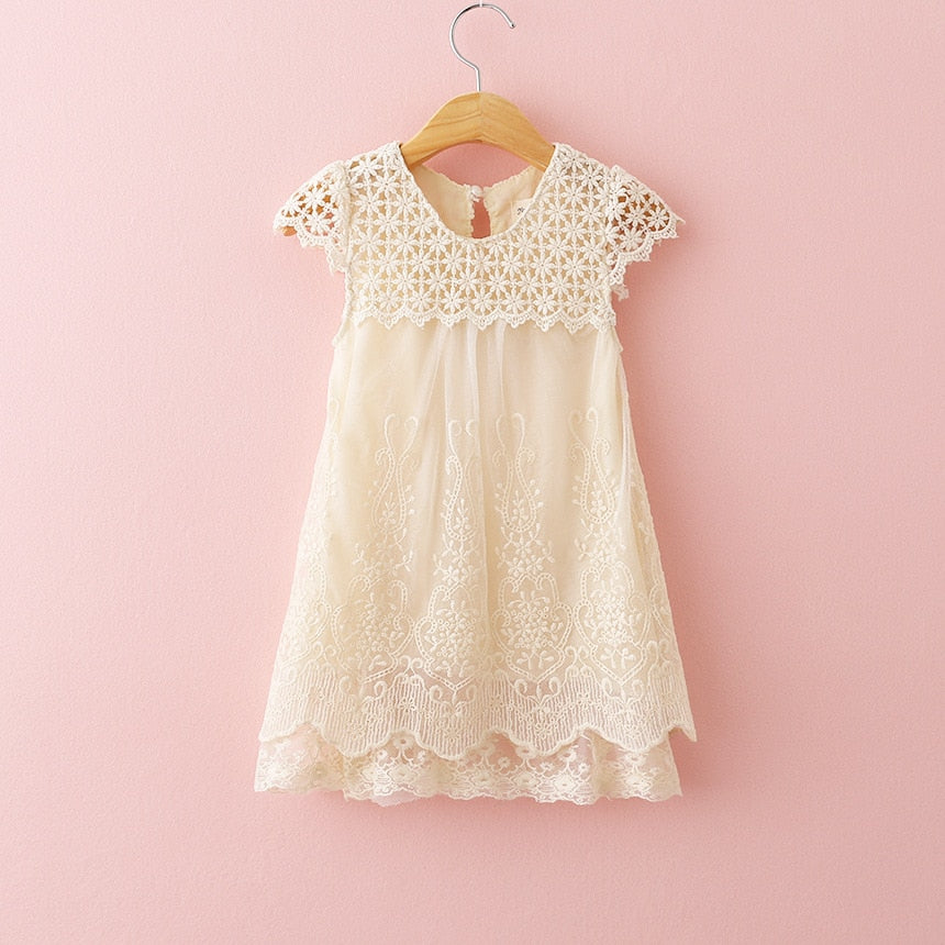 Vintage Lace Cream Embroidered Dress - loopylousboutique