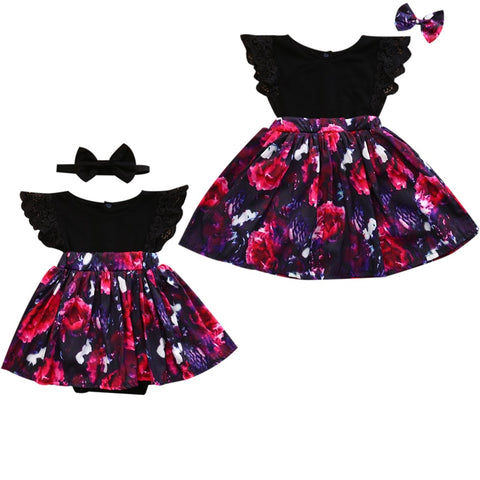 Sister Matching Black and Purple Floral Outfit - loopylousboutique