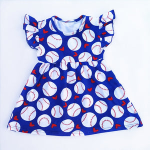 Baseball Flutter Sleeve Pearl Dress - loopylousboutique