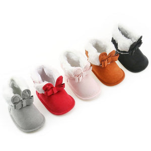 Bunny Bow Newborn Furry Boots - loopylousboutique