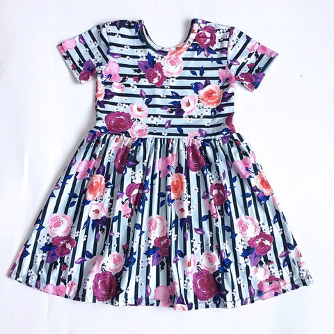 Floral Stripe Girls Boutique Dress - loopylousboutique