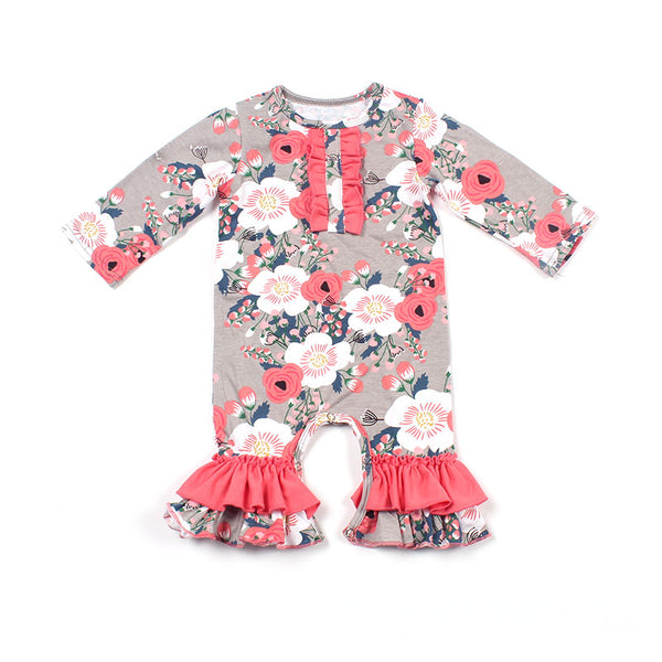 Coral Pink Floral Ruffle Romper - loopylousboutique