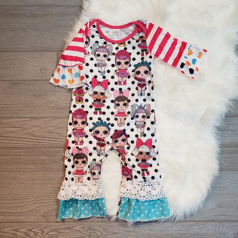 Polka Dot LOL Dolls Ruffle Romper - loopylousboutique
