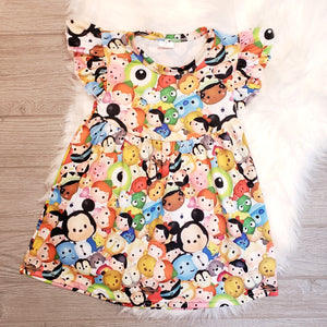 Tsum Tsum Short Sleeve Flutter Dress - loopylousboutique