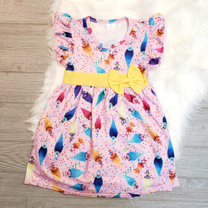 Trolls Bow Short Sleeve Flutter Dress - loopylousboutique