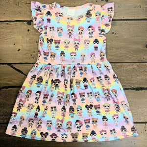 Pastel Rainbow LOL Flutter Dress - loopylousboutique