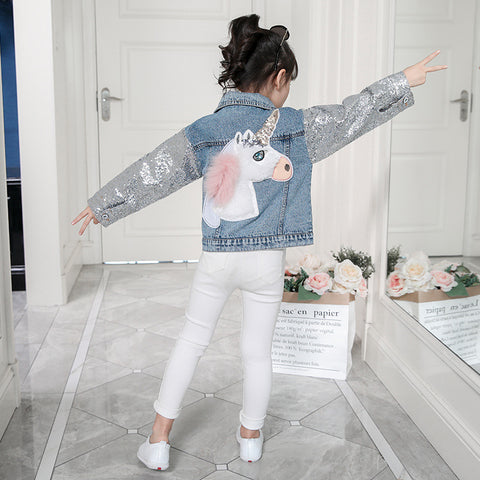Sequin Sleeve Unicorn Applique Jean Jacket - loopylousboutique