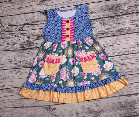 Avery Blue Floral Ruffle Dress - loopylousboutique