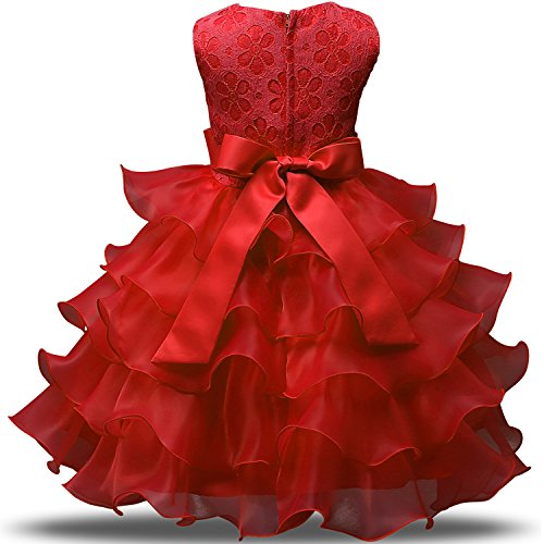 Red Bling Layers of Ruffle Sleeveless Party Dress - loopylousboutique