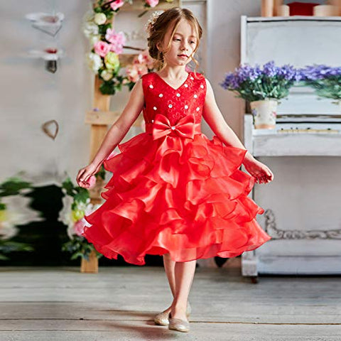 Red Bling Layers of Ruffle Sleeveless Party Dress