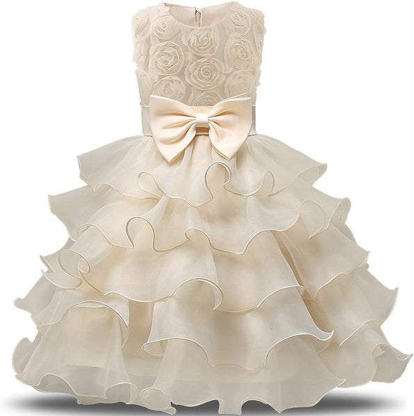 Cream Flower Layers of Ruffle Sleeveless Party Dress - loopylousboutique