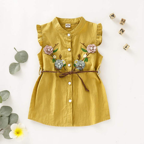 Mustard Yellow Embroidered Flower Dress