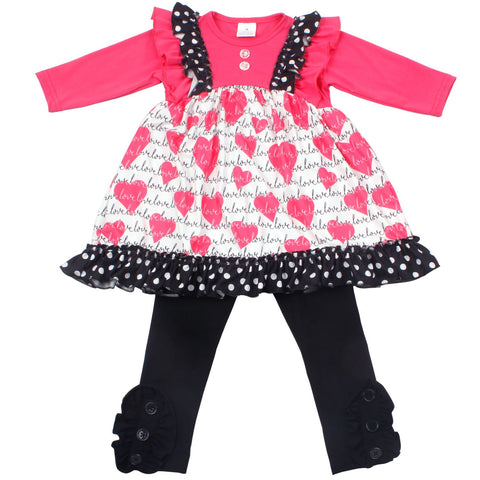 Hearts & Polka Dots Girls Boutique Outfit - loopylousboutique