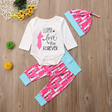 Llama Love You Forever Infant 3pc Set - loopylousboutique