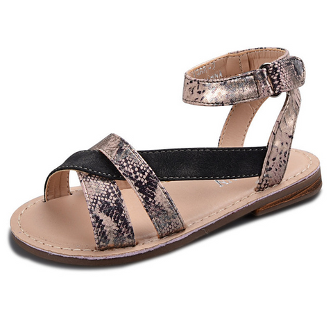 Black Snakeskin Cross Strap Sandals - loopylousboutique