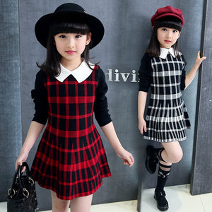 Red or White Plaid Collar Long Sleeve Dress