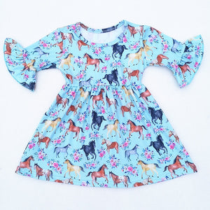 Horse Print 3/4 Sleeve Milksilk Dress - loopylousboutique