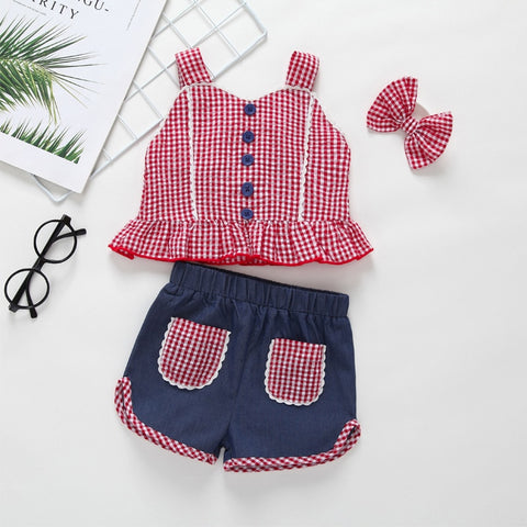 Country Girl Red Checker Shorts Set - loopylousboutique