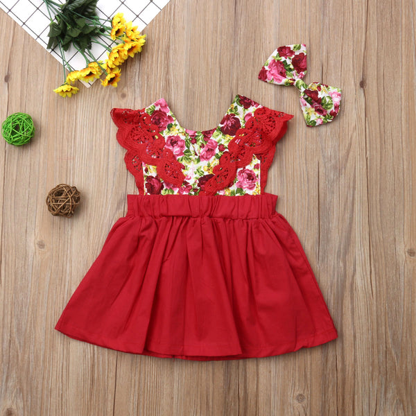 Big Sister Little Sister Red Floral Dress - loopylousboutique