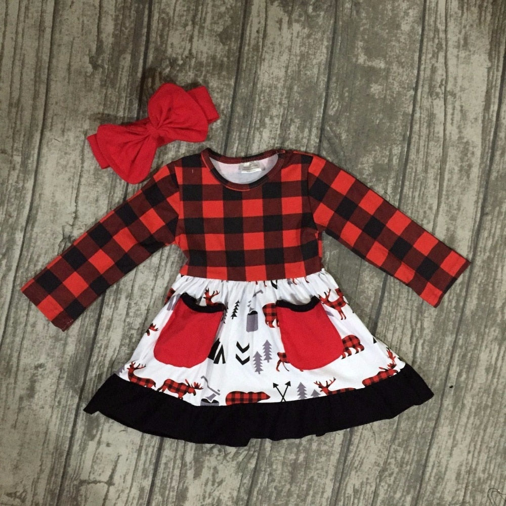 Red Flannel Style Girls Pocket Dress - loopylousboutique