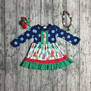 Christmas Tree Dress with Necklace & Bow - loopylousboutique
