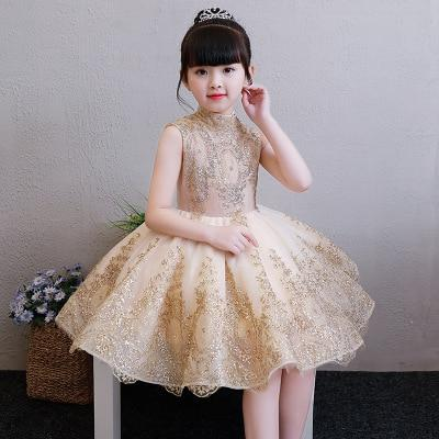 Elegant Golden Tulle Flower Girl Dress - loopylousboutique
