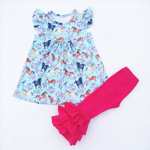 Horse Print Flutter Top & Ruffle Pants Set - loopylousboutique