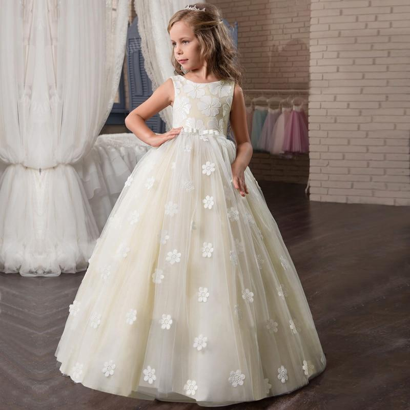 Off White Flower Applique Flower Girl Dress - loopylousboutique