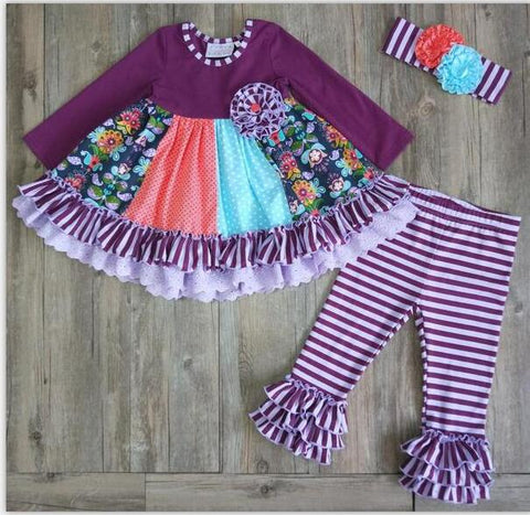 Purple Color Block Girls Ruffle Outfit - loopylousboutique