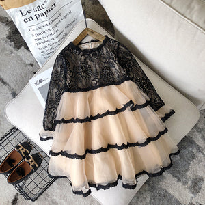 Black Lace & Tulle Layered Dress - loopylousboutique