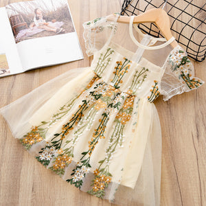 Cream Tulle Embroidery Accent Dress - loopylousboutique